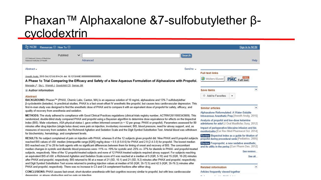 Phaxan™ Alphaxalone &7-sulfobutylether β-cyclodextrin