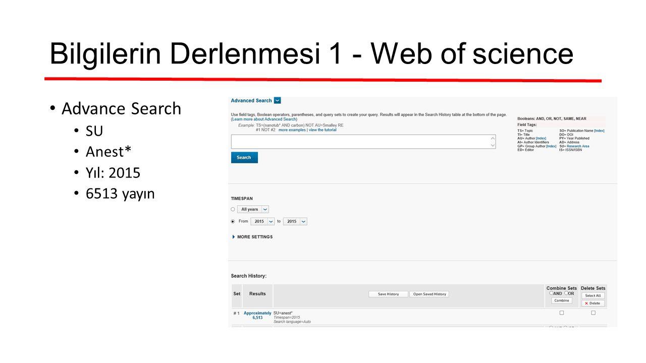 Bilgilerin Derlenmesi 1 - Web of science