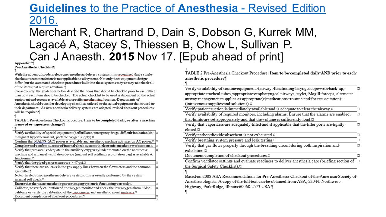 Guidelines to the Practice of Anesthesia - Revised Edition 2016