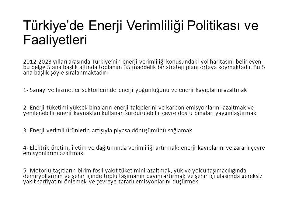 Türkiye'de Enerji Verimliliği Politikası ve Faaliyetleri