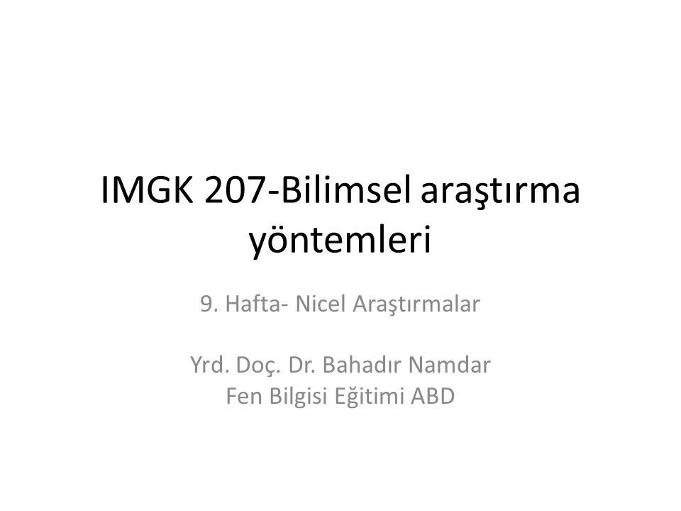 IMGK 207-Bilimsel araştırma yöntemleri