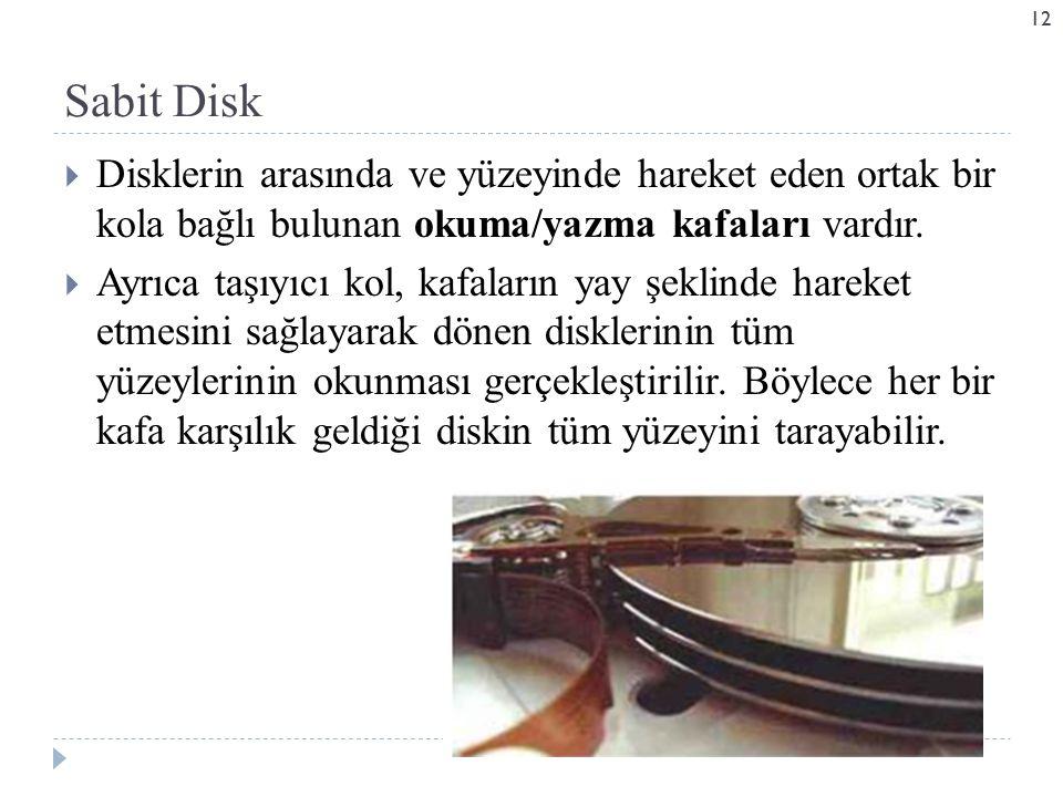 Sabit Disk Disklerin arasında ve yüzeyinde hareket eden ortak bir kola bağlı bulunan okuma/yazma kafaları vardır.