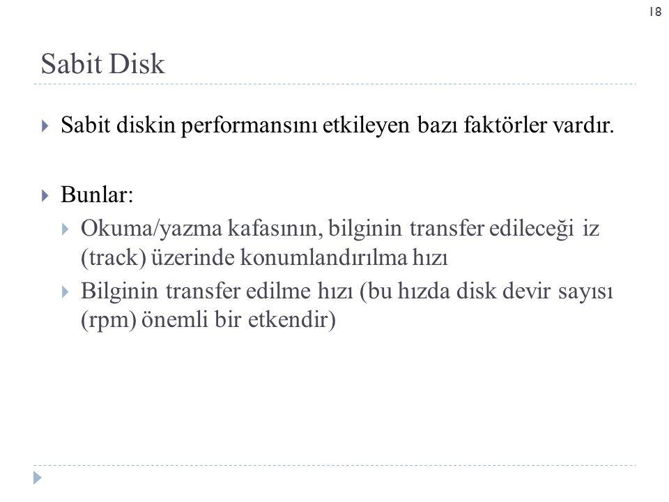 Sabit Disk Sabit diskin performansını etkileyen bazı faktörler vardır.