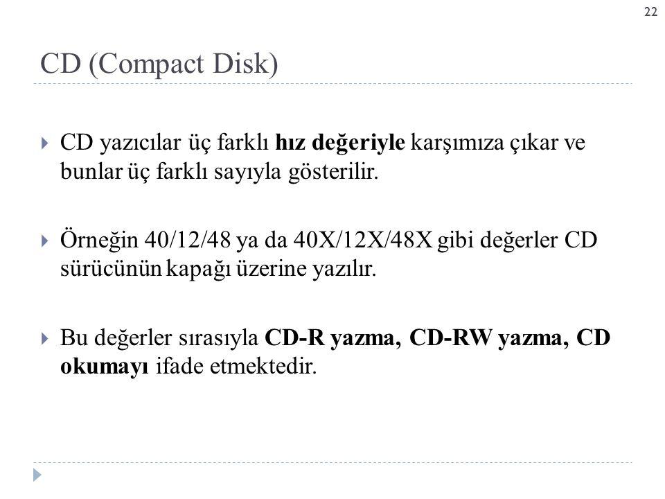 CD (Compact Disk) CD yazıcılar üç farklı hız değeriyle karşımıza çıkar ve bunlar üç farklı sayıyla gösterilir.