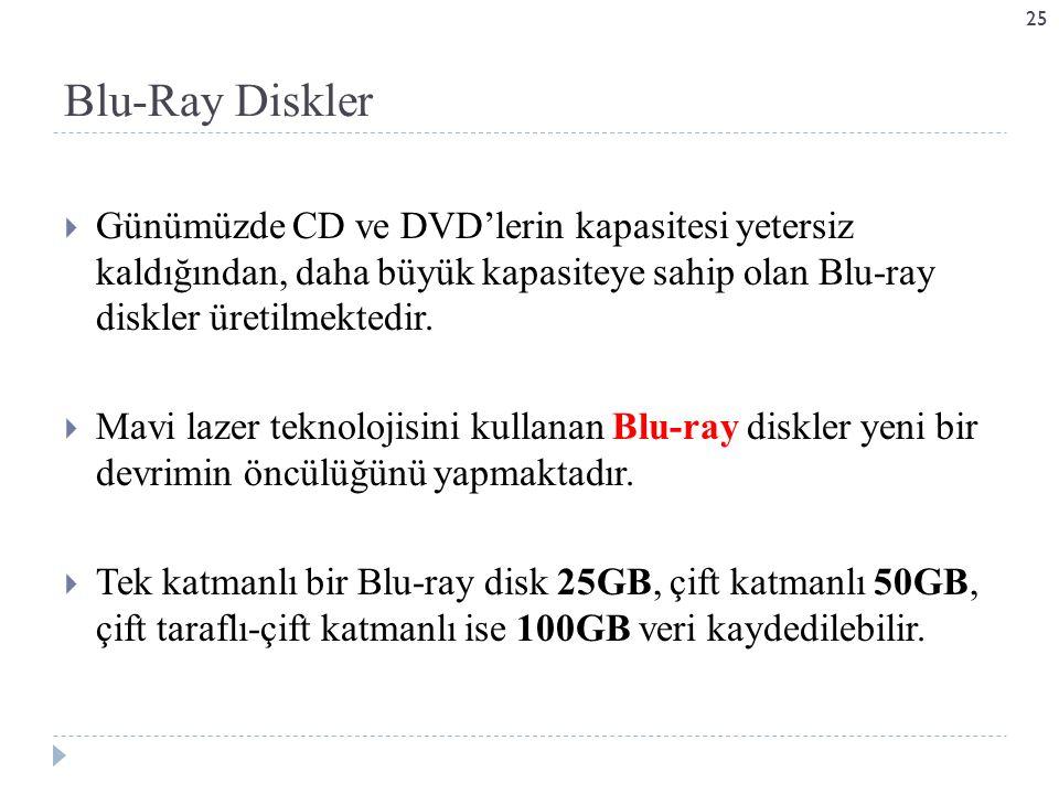 Blu-Ray Diskler Günümüzde CD ve DVD'lerin kapasitesi yetersiz kaldığından, daha büyük kapasiteye sahip olan Blu-ray diskler üretilmektedir.