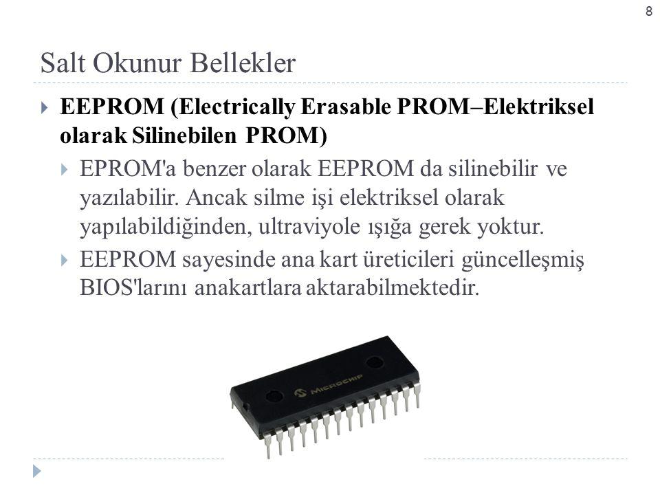 Salt Okunur Bellekler EEPROM (Electrically Erasable PROM–Elektriksel olarak Silinebilen PROM)