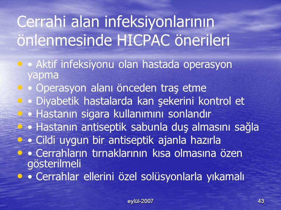 Cerrahi alan infeksiyonlarının önlenmesinde HICPAC önerileri