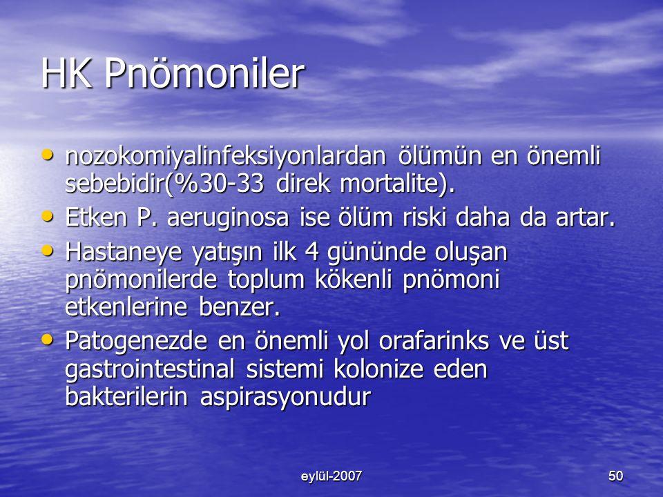HK Pnömoniler nozokomiyalinfeksiyonlardan ölümün en önemli sebebidir(%30-33 direk mortalite). Etken P. aeruginosa ise ölüm riski daha da artar.