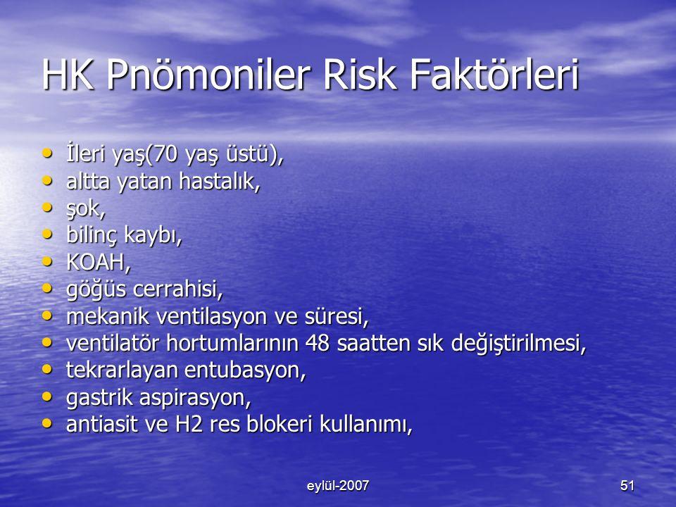 HK Pnömoniler Risk Faktörleri