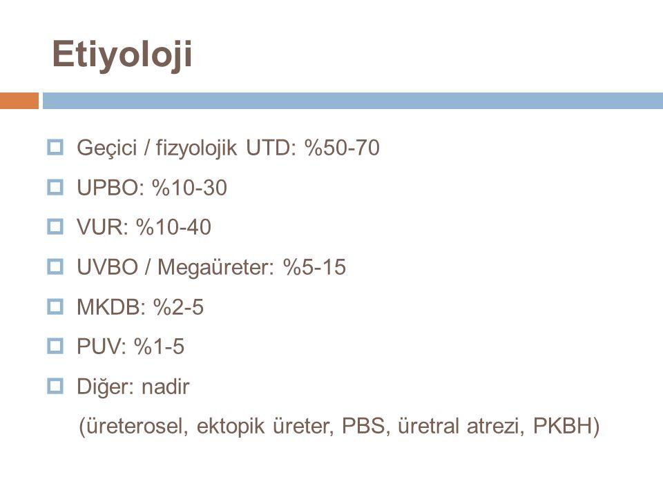 Etiyoloji Geçici / fizyolojik UTD: %50-70 UPBO: %10-30 VUR: %10-40