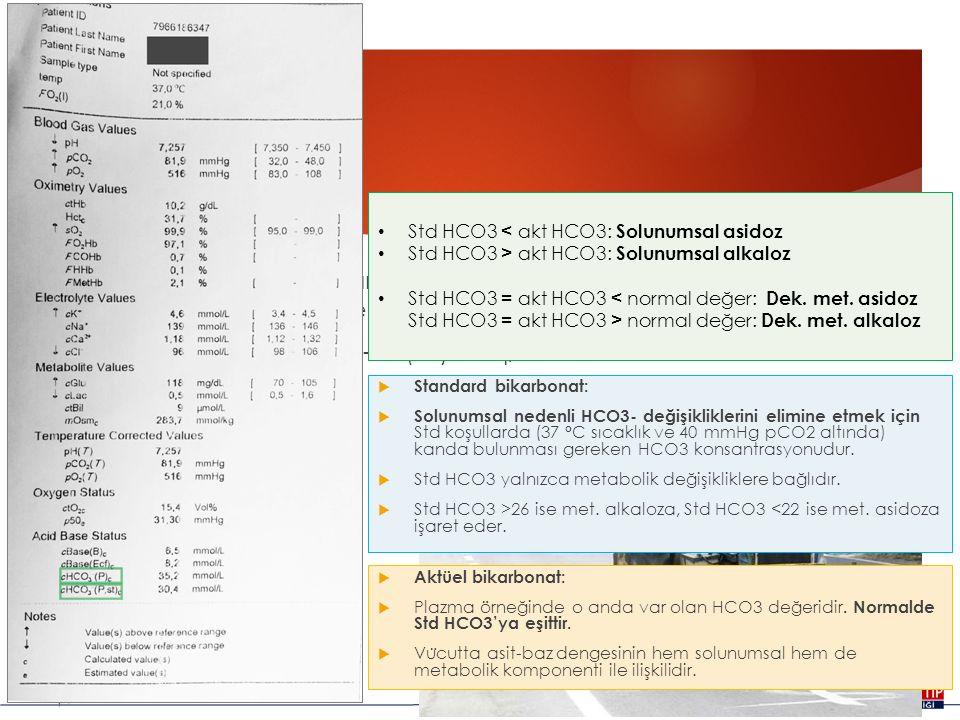 HCO3 Std HCO3 < akt HCO3: Solunumsal asidoz. Std HCO3 > akt HCO3: Solunumsal alkaloz.