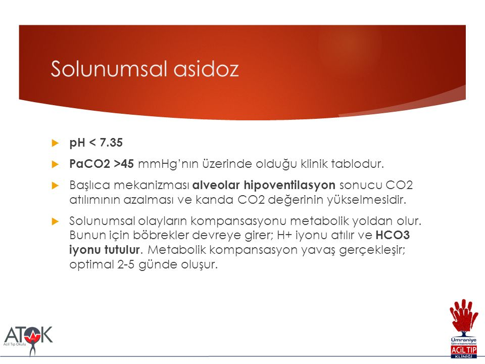 Solunumsal asidoz pH < 7.35