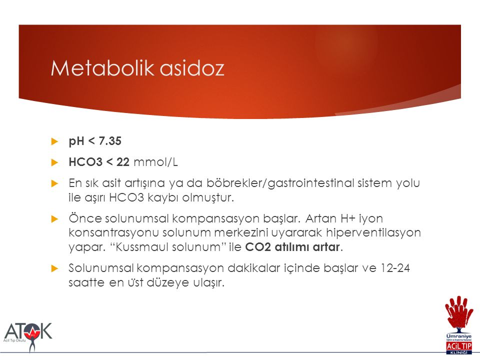 Metabolik asidoz pH < 7.35 HCO3 < 22 mmol/L