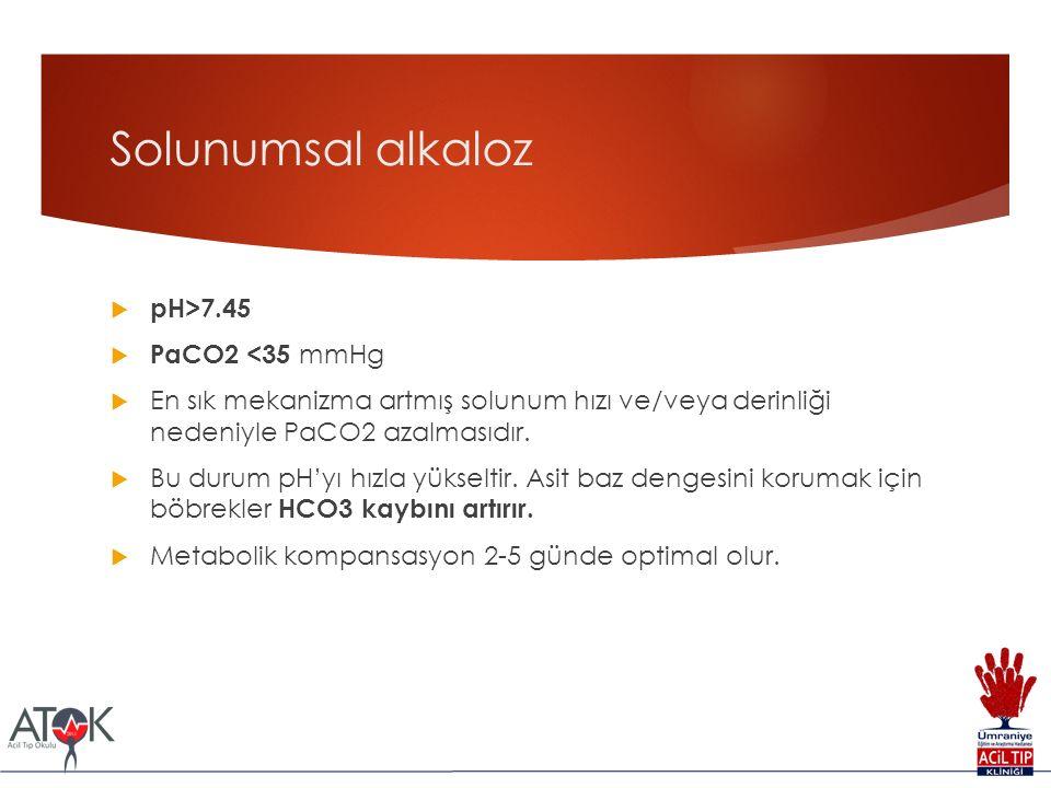 Solunumsal alkaloz pH>7.45 PaCO2 <35 mmHg