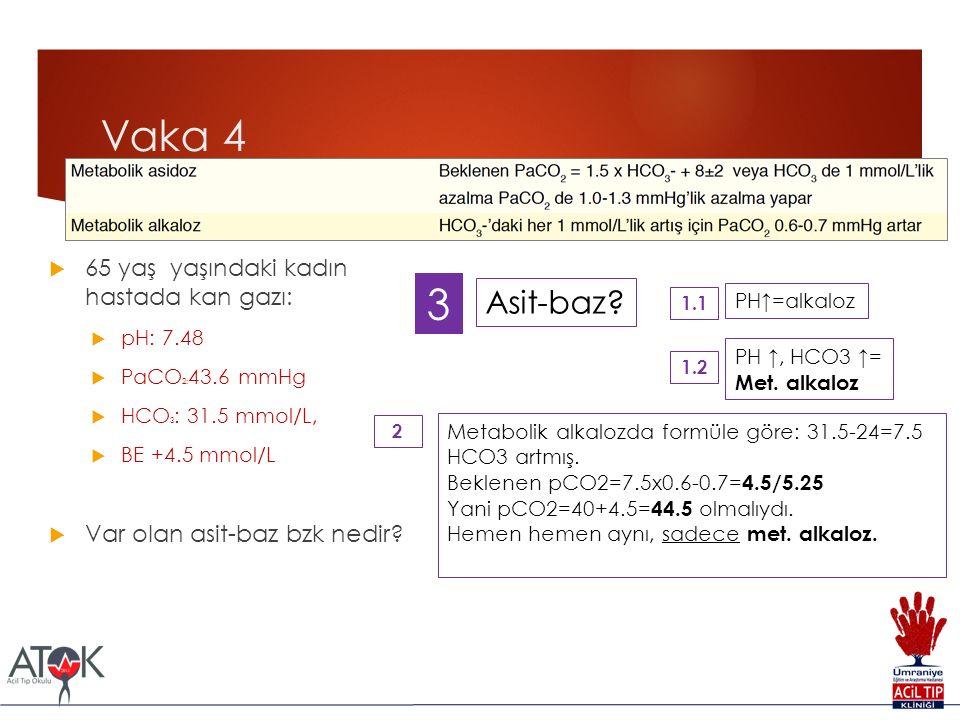 Vaka 4 3 Asit-baz 65 yaş yaşındaki kadın hastada kan gazı: