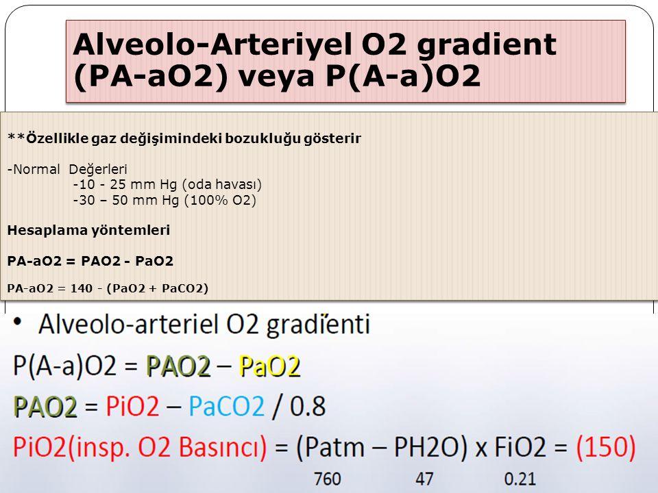 Alveolo-Arteriyel O2 gradient (PA-aO2) veya P(A-a)O2