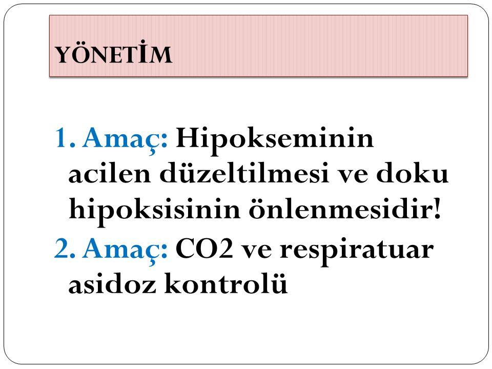 YÖNETİM 1. Amaç: Hipokseminin acilen düzeltilmesi ve doku hipoksisinin önlenmesidir.