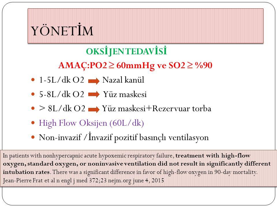 YÖNETİM OKSİJEN TEDAVİSİ AMAÇ:PO2 ≥ 60mmHg ve SO2 ≥ %90