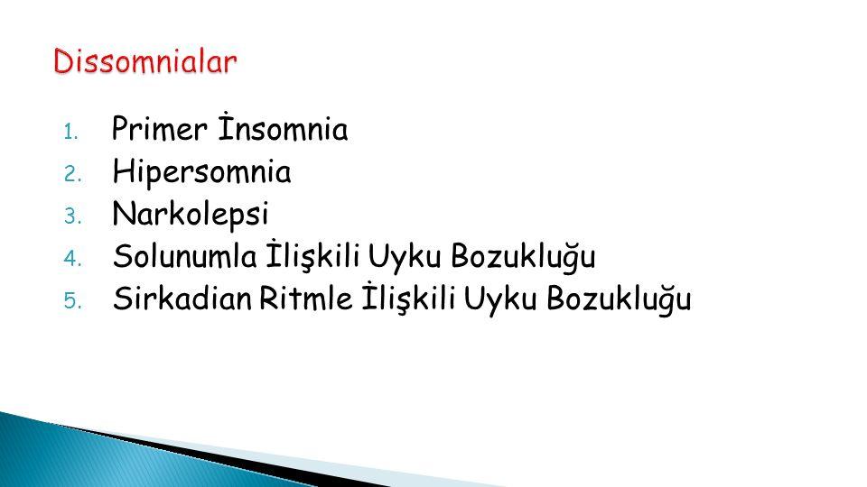 Dissomnialar Primer İnsomnia. Hipersomnia. Narkolepsi.