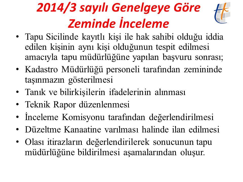 2014/3 sayılı Genelgeye Göre Zeminde İnceleme