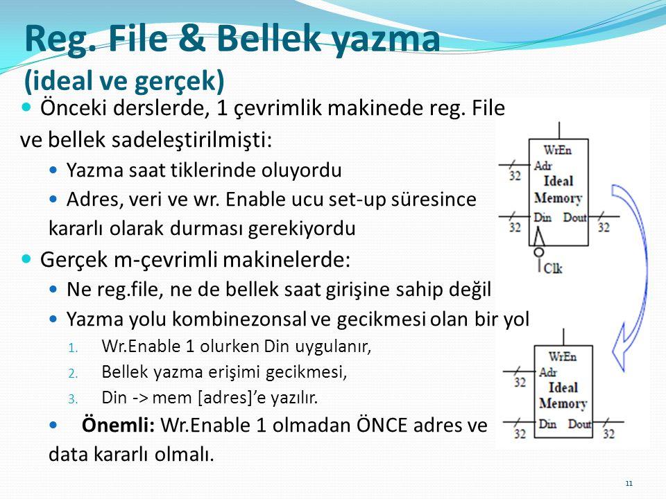 Reg. File & Bellek yazma (ideal ve gerçek)
