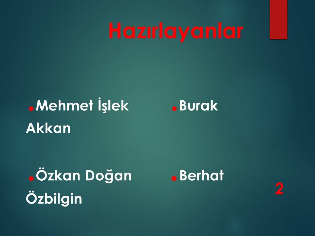 .Mehmet İşlek .Burak Akkan .Özkan Doğan .Berhat Özbilgin