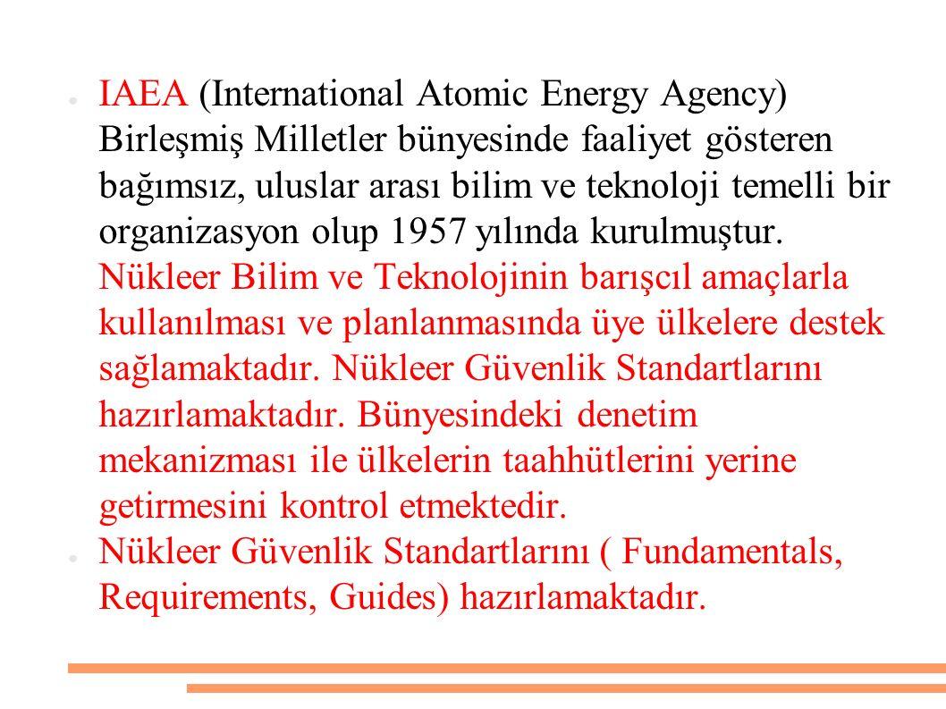 IAEA (International Atomic Energy Agency) Birleşmiş Milletler bünyesinde faaliyet gösteren bağımsız, uluslar arası bilim ve teknoloji temelli bir organizasyon olup 1957 yılında kurulmuştur. Nükleer Bilim ve Teknolojinin barışcıl amaçlarla kullanılması ve planlanmasında üye ülkelere destek sağlamaktadır. Nükleer Güvenlik Standartlarını hazırlamaktadır. Bünyesindeki denetim mekanizması ile ülkelerin taahhütlerini yerine getirmesini kontrol etmektedir.