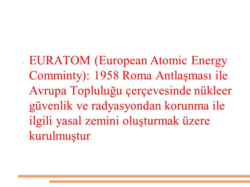 EURATOM (European Atomic Energy Comminty): 1958 Roma Antlaşması ile Avrupa Topluluğu çerçevesinde nükleer güvenlik ve radyasyondan korunma ile ilgili yasal zemini oluşturmak üzere kurulmuştur.