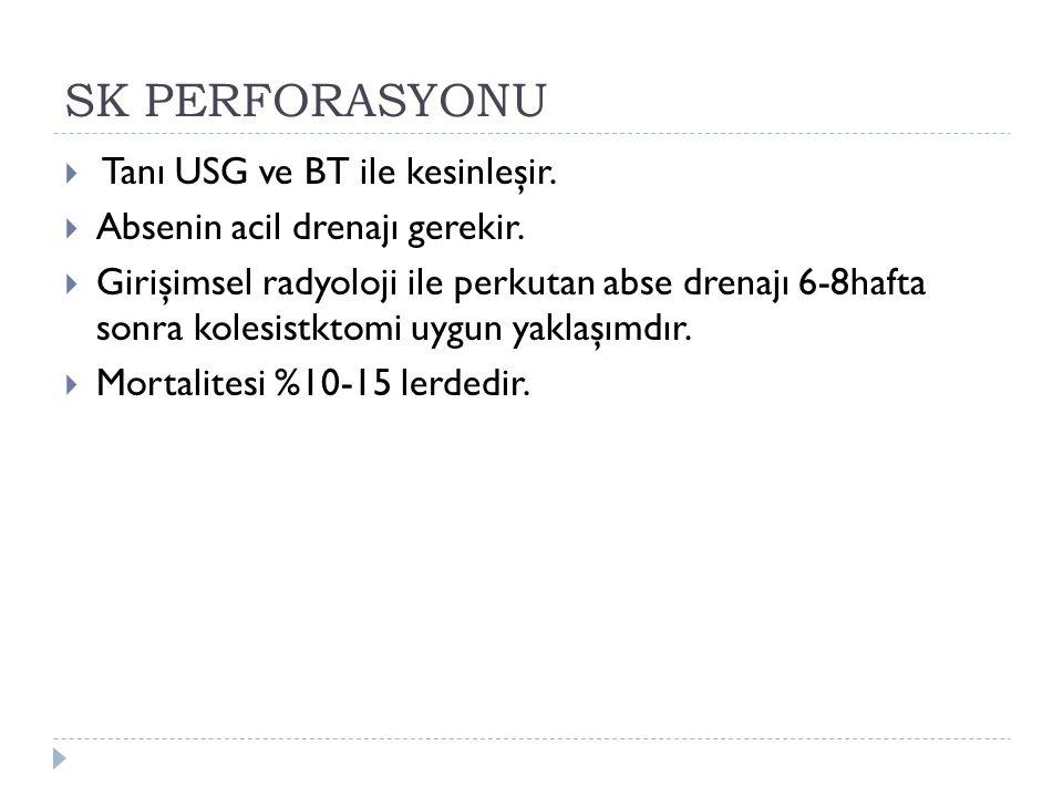 SK PERFORASYONU Tanı USG ve BT ile kesinleşir.