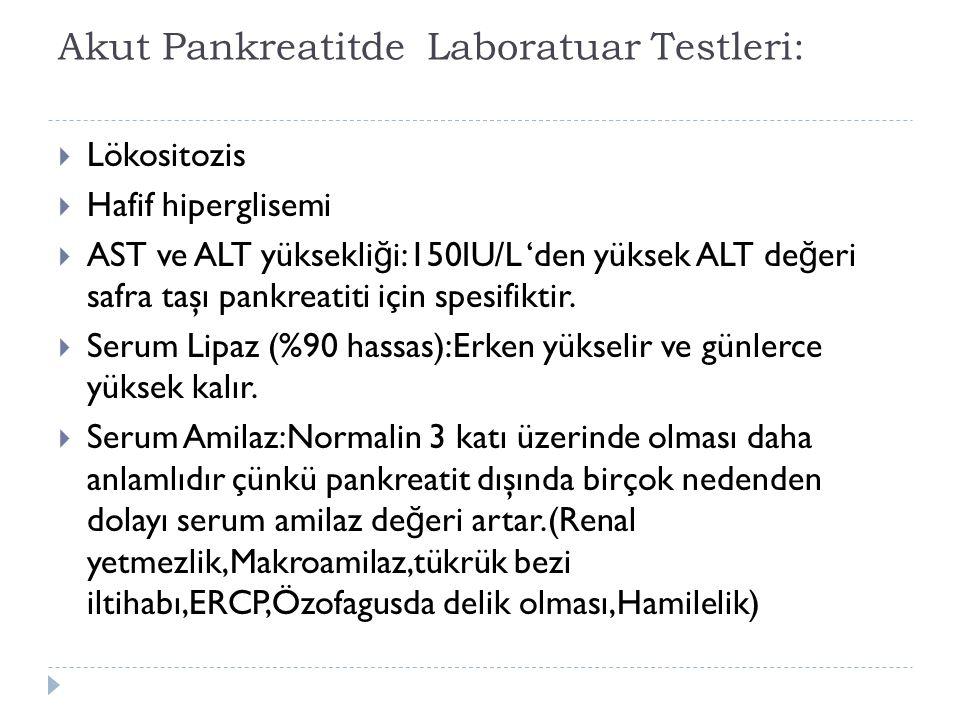 Akut Pankreatitde Laboratuar Testleri: