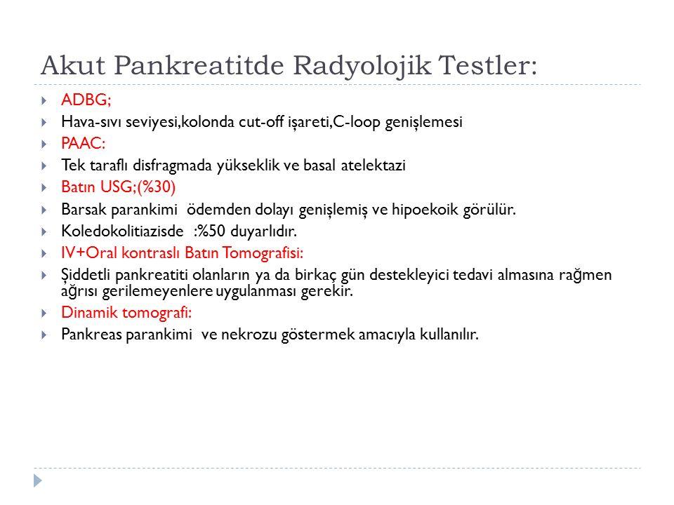 Akut Pankreatitde Radyolojik Testler: