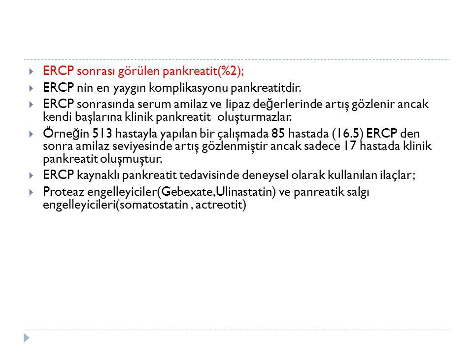 ERCP sonrası görülen pankreatit(%2);