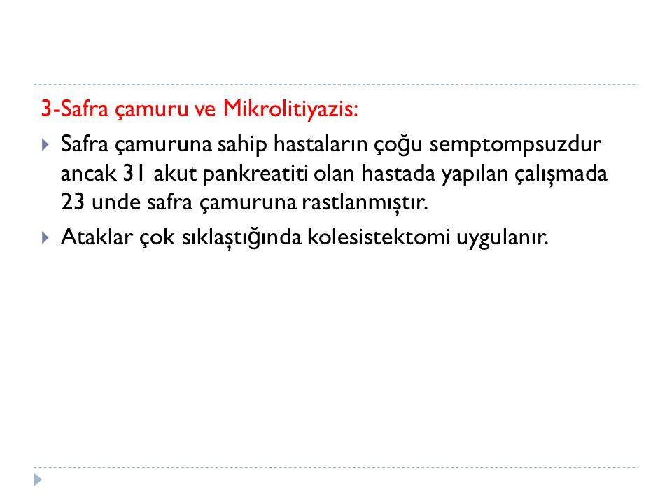 3-Safra çamuru ve Mikrolitiyazis: