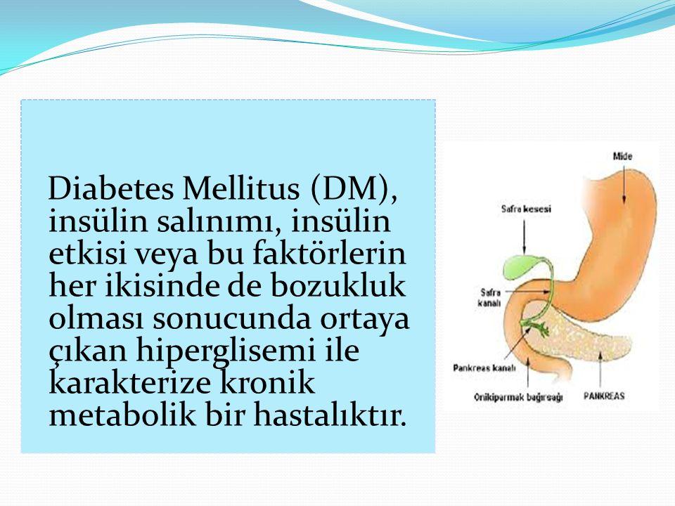 Diabetes Mellitus (DM), insülin salınımı, insülin etkisi veya bu faktörlerin her ikisinde de bozukluk olması sonucunda ortaya çıkan hiperglisemi ile karakterize kronik metabolik bir hastalıktır.