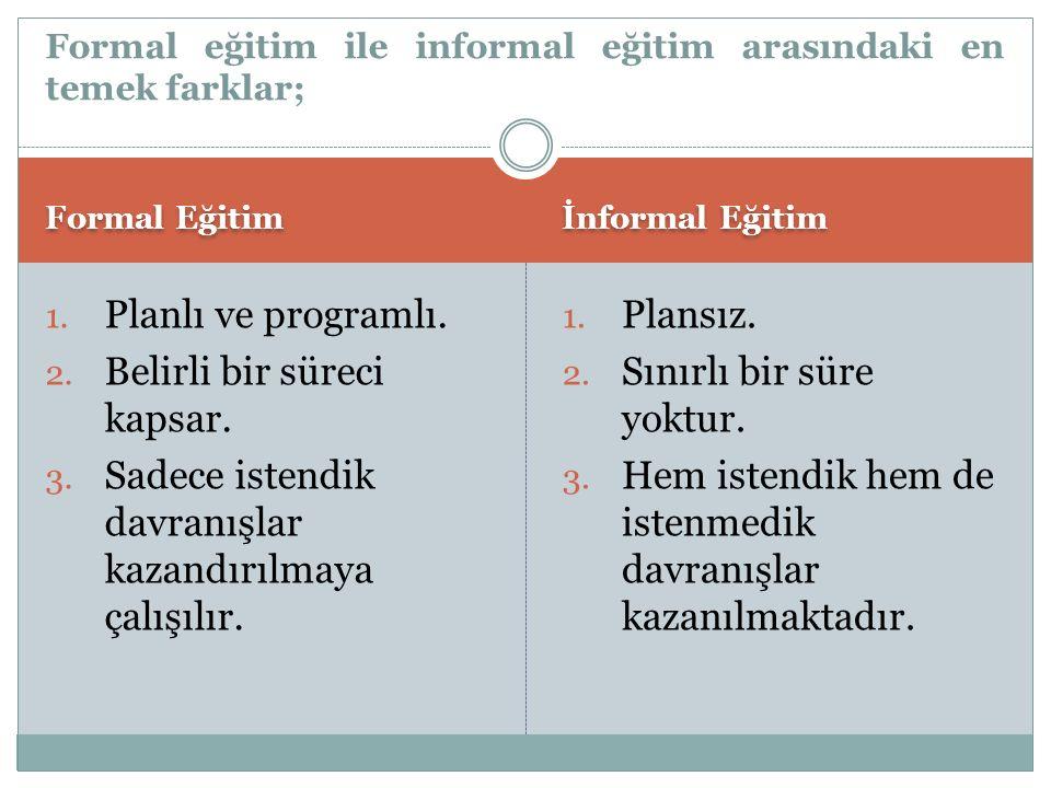 Formal eğitim ile informal eğitim arasındaki en temek farklar;