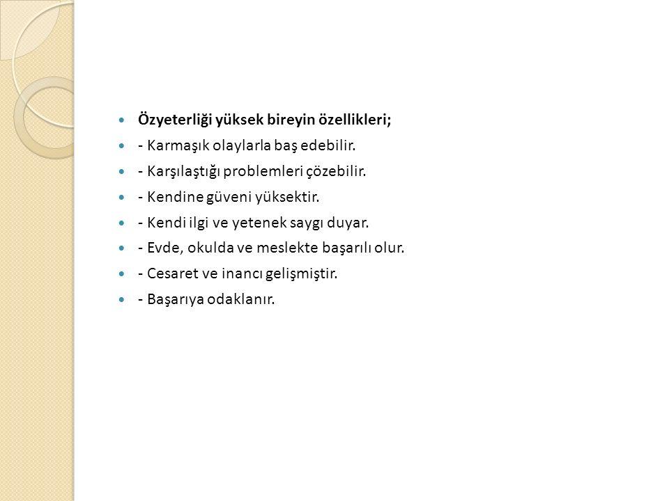 Özyeterliği yüksek bireyin özellikleri;