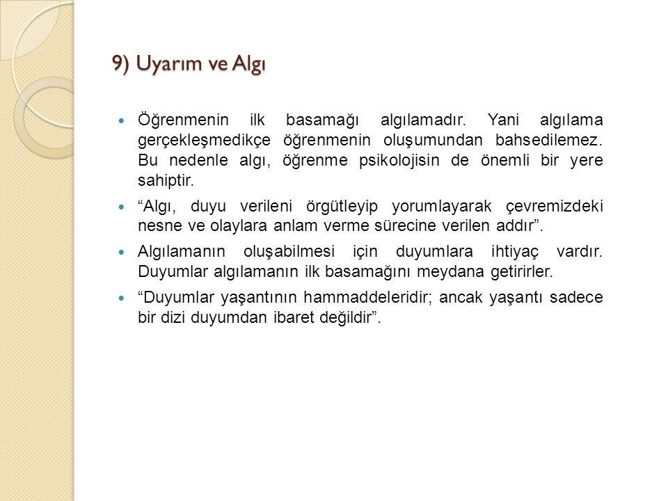 9) Uyarım ve Algı