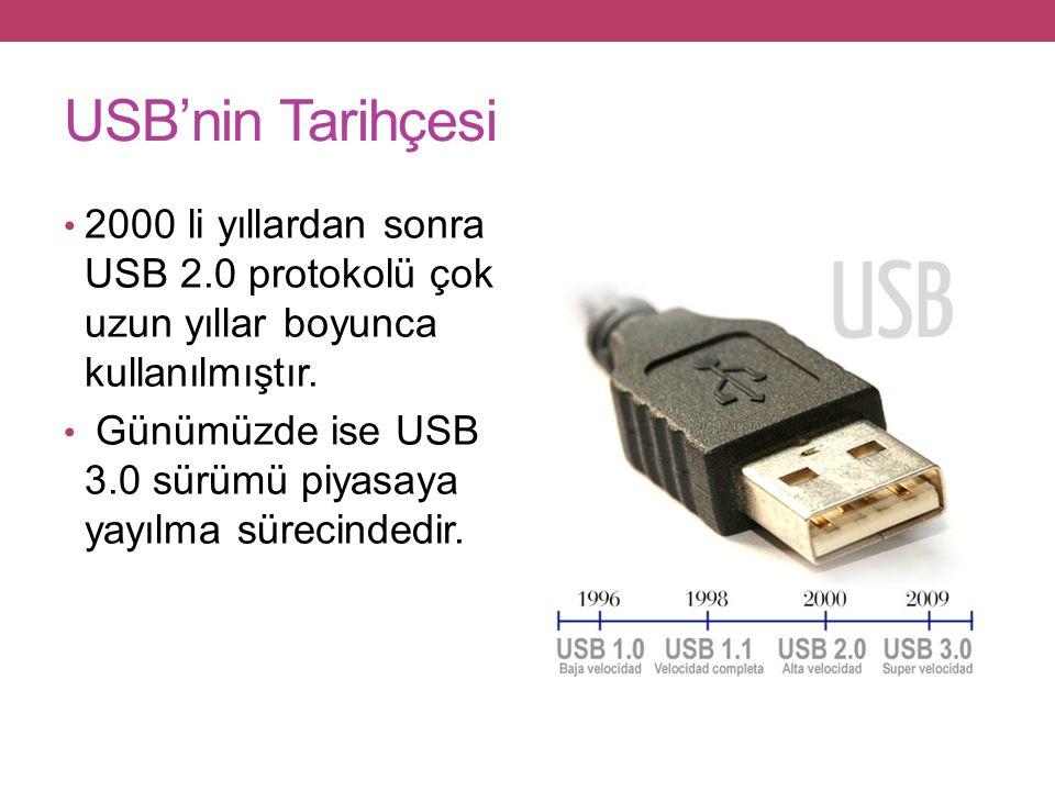 USB'nin Tarihçesi 2000 li yıllardan sonra USB 2.0 protokolü çok uzun yıllar boyunca kullanılmıştır.