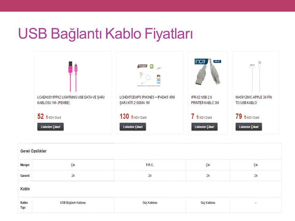 USB Bağlantı Kablo Fiyatları