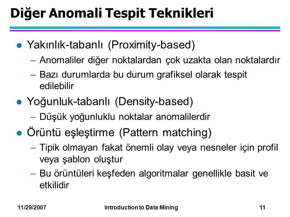 Diğer Anomali Tespit Teknikleri
