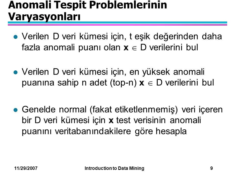 Anomali Tespit Problemlerinin Varyasyonları
