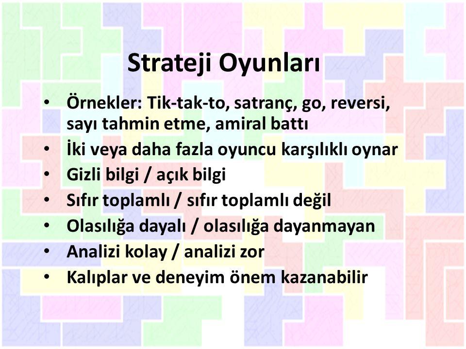 Strateji Oyunları Örnekler: Tik-tak-to, satranç, go, reversi, sayı tahmin etme, amiral battı. İki veya daha fazla oyuncu karşılıklı oynar.