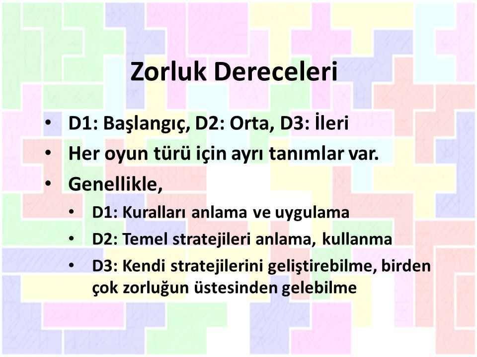 Zorluk Dereceleri D1: Başlangıç, D2: Orta, D3: İleri