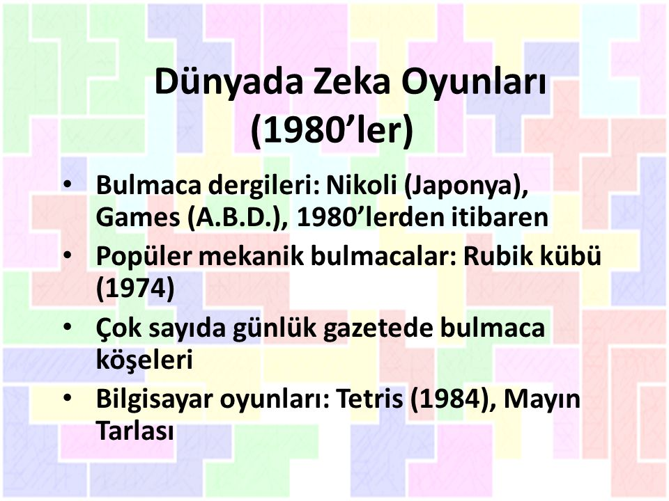 Dünyada Zeka Oyunları (1980'ler)