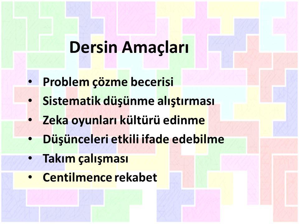 Dersin Amaçları Problem çözme becerisi Sistematik düşünme alıştırması