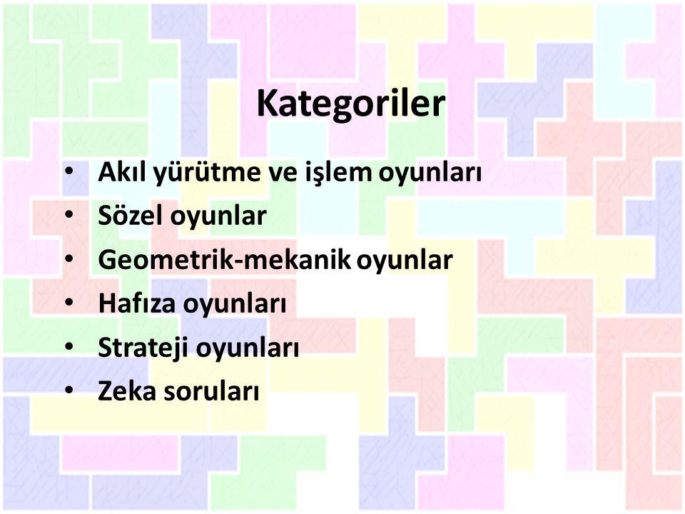 Kategoriler Akıl yürütme ve işlem oyunları Sözel oyunlar