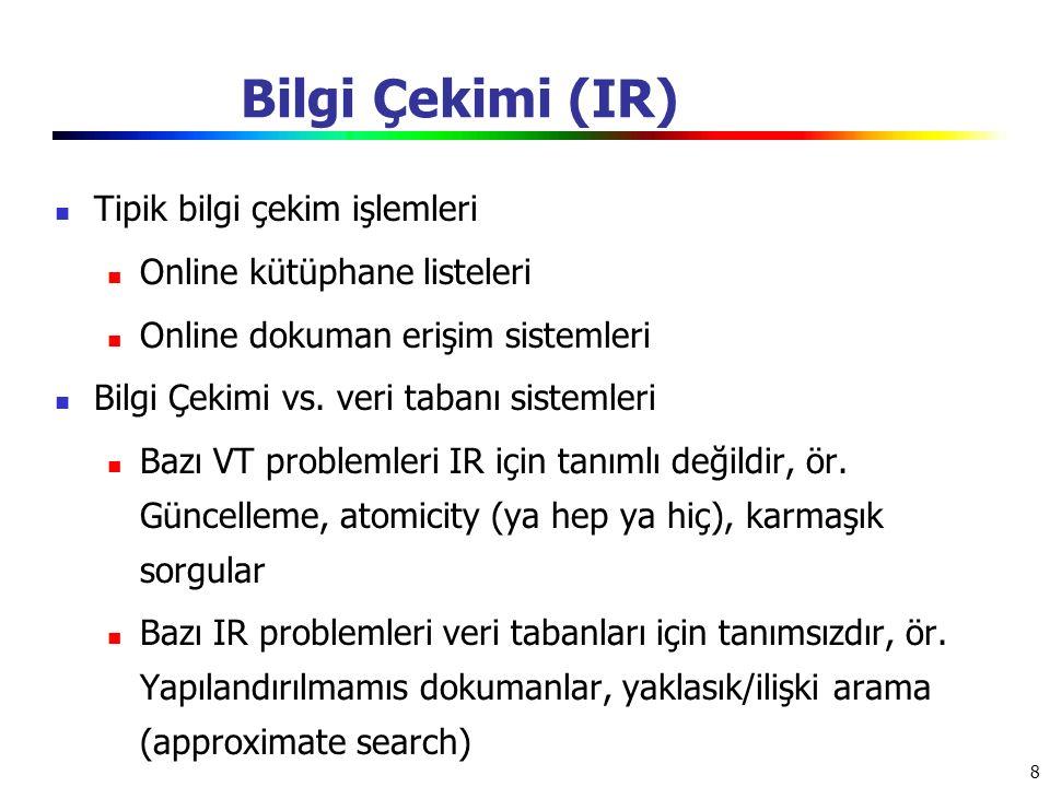 Bilgi Çekimi (IR) Tipik bilgi çekim işlemleri