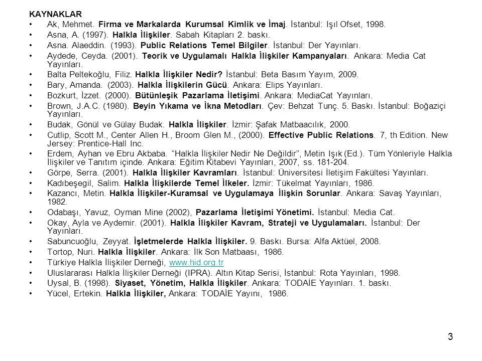 KAYNAKLAR Ak, Mehmet. Firma ve Markalarda Kurumsal Kimlik ve İmaj. İstanbul: Işıl Ofset, 1998.