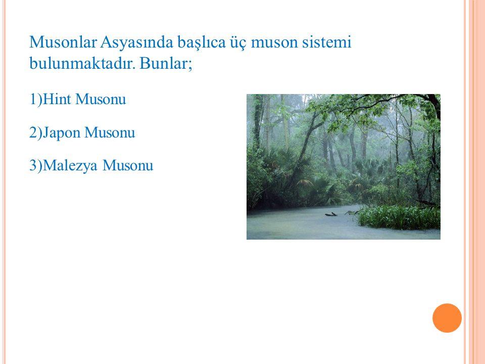 Musonlar Asyasında başlıca üç muson sistemi bulunmaktadır. Bunlar;