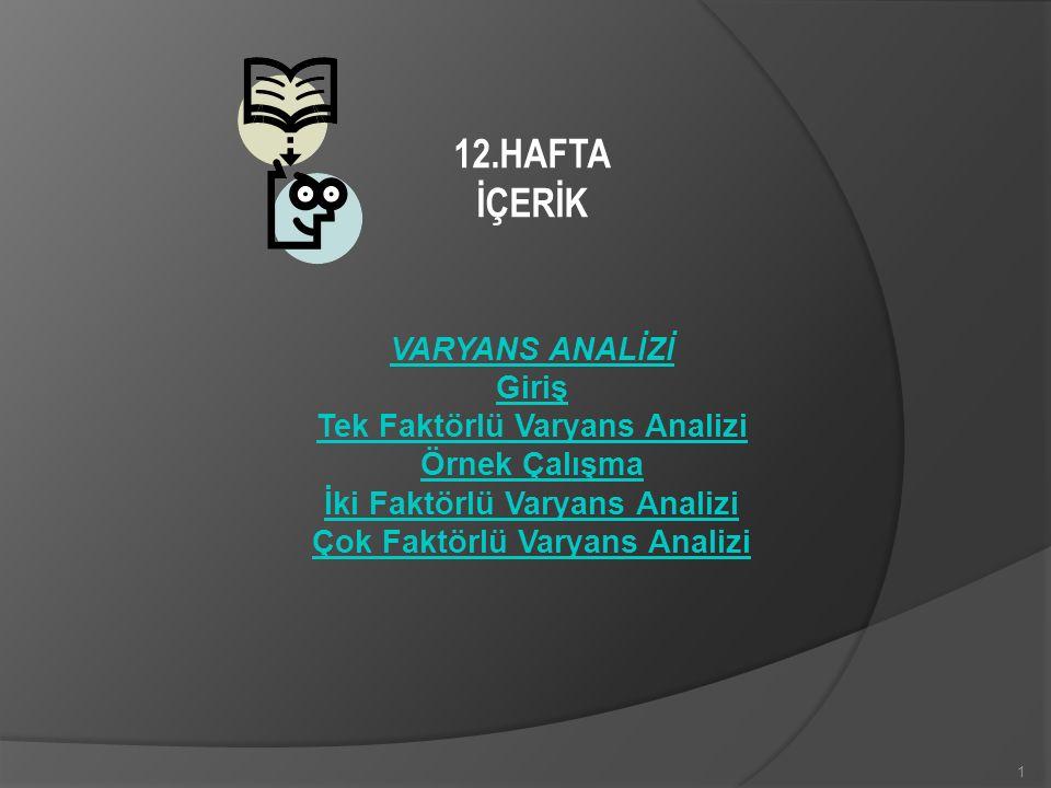 12.HAFTA İÇERİK VARYANS ANALİZİ Giriş Tek Faktörlü Varyans Analizi